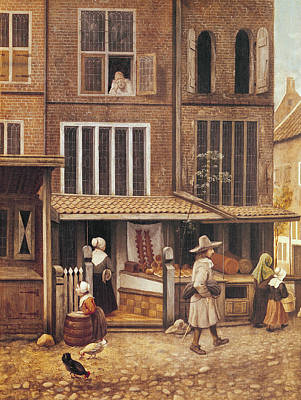Daily Life Photograph - Corner Of A Town With A Bakery Oil On Panel by Jacobus Vrel or Frel