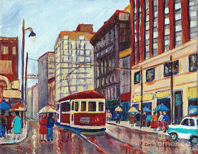 Montreal Memories Painting - Corner St.catherine And University-classic Streetcar-vintage Montreal City Scene by Carole Spandau