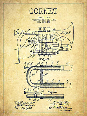 Trumpet Digital Art - Cornet Patent Drawing From 1899 - Vintage by Aged Pixel