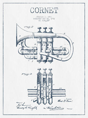 Trumpet Digital Art - Cornet Patent Drawing From 1901 - Blue Ink by Aged Pixel