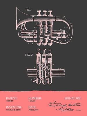 Trumpet Digital Art - Cornet Patent Drawing From 1901 - Gray Salmon by Aged Pixel