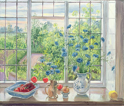 Cornflowers And Kitchen Garden Print by Timothy Easton