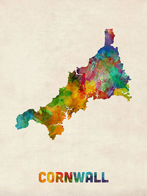 Great Britain Digital Art - Cornwall England Watercolor Map by Michael Tompsett
