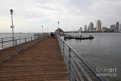 San Diego Embarcadero Park Photograph - Coronado Pier Overlooking The San Diego Skyline 5d24353 by Wingsdomain Art and Photography
