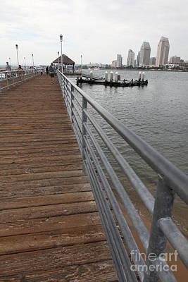 San Diego Embarcadero Park Photograph - Coronado Pier Overlooking The San Diego Skyline 5d24354 by Wingsdomain Art and Photography