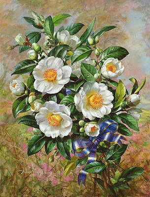 Coronation Camelia From The Golden Jubilee Series Print by Albert Williams