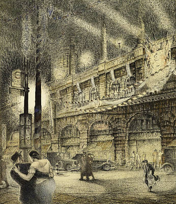On Paper Painting - Coronation Evening London 1937 by Jack Coburn Witherop