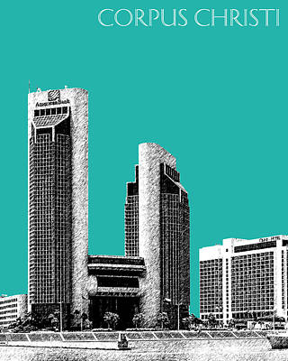 Pen Digital Art - Corpus Christi Skyline - Teal by DB Artist