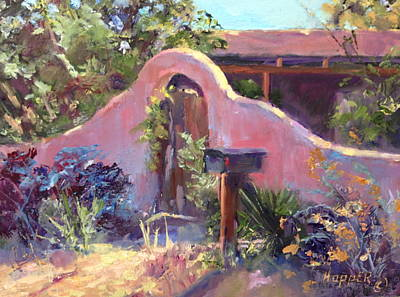 Mail Box Painting - Corrales Adobe Wall And Gate IIi by Carol Hopper