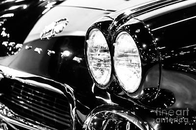 1st Photograph - Corvette Picture - Black And White C1 First Generation by Paul Velgos