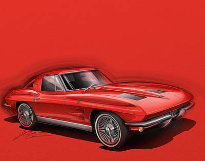 Sting Ray Drawing - Corvette Sting Ray 1963 Red by Etienne Carignan