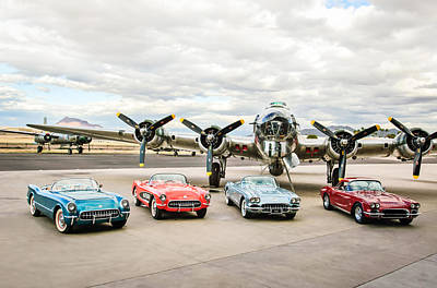 Corvettes And B17 Bomber Print by Jill Reger
