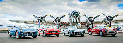 Corvettes With B17 Bomber Print by Jill Reger
