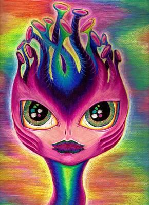 Extraterrestrial Drawing - Cosima The Alien by Nalinne Jones