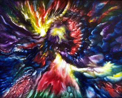 Outer Space Painting - Cosmic Angel by Glenda Stevens