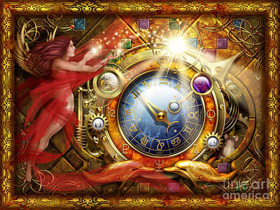 Dolphin Digital Art - Cosmic Clock by Ciro Marchetti
