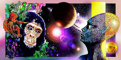 Chimpanzee Mixed Media - Cosmic Connected Citizens  by Hartmut Jager