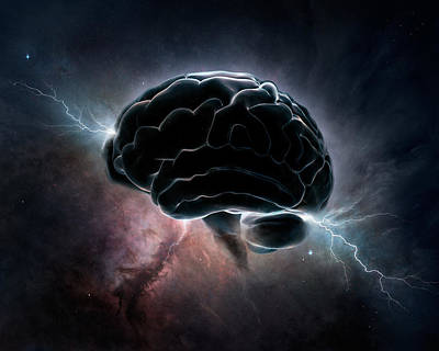 Brain Digital Art - Cosmic Intelligence by Johan Swanepoel