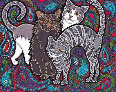 Gray Tabby Painting - Cosmic Kittehs by Keri Costello