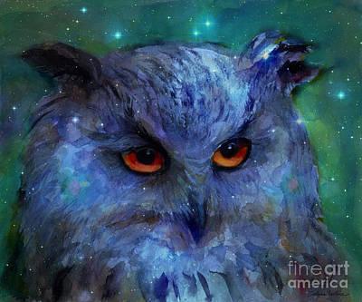 Cosmic Owl Painting Print by Svetlana Novikova