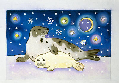 Animal Christmas Painting - Cosmic Seals by Cathy Baxter