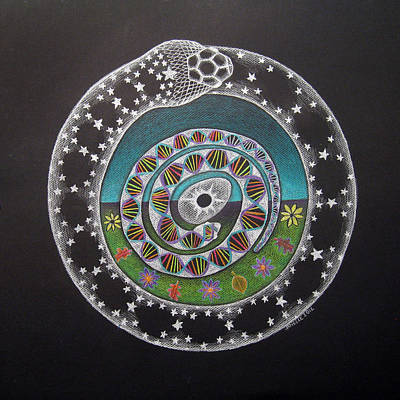 Cosmic Drawing - Cosmic Serpent Color by Janelle Schneider