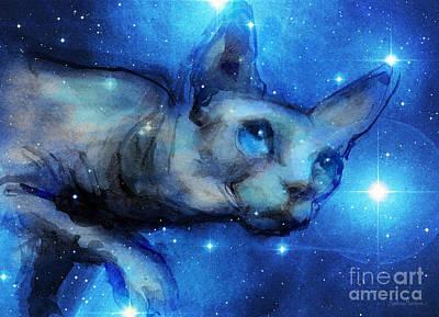 Cosmic Sphynx Cat  Print by Svetlana Novikova