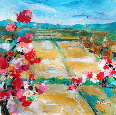 Becky Kim Artist Painting - Cosmos In The Field 2 by Becky Kim