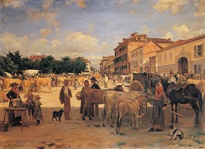 Cosola Demetrio, Chivasso Market, 1880 Print by Everett