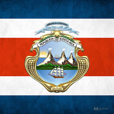 Coat Of Arms Digital Art - Costa Rica Coat Of Arms And Flag  by Serge Averbukh