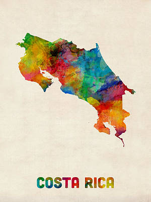 Germany Digital Art - Costa Rica Watercolor Map by Michael Tompsett