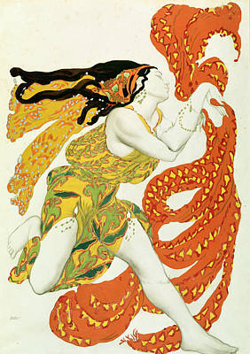 Costume Design For A Bacchante In Narcisse By Tcherepnin Print by Leon Bakst