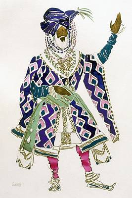 Fashion Design Drawing - Costume Design For A Sultan by Leon Bakst