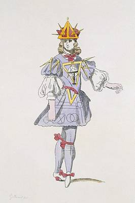 Mathematics Drawing - Costume Design For Geometry In A 17th by French School