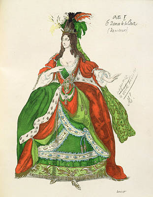 Costume For A Female Courtier Print by Leon Bakst