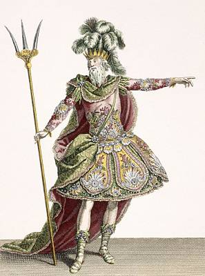 Ostrich Drawing - Costume For Neptune In Several Operas by Jean Baptiste Martin