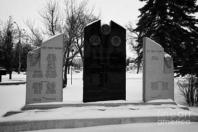 cote keeseekoose and key first nations war memorials in Kamsack Saskatchewan Canada Print by Joe Fox