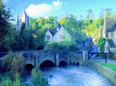 Waterscape Mixed Media - Cotswolds Of England by Georgiana Romanovna