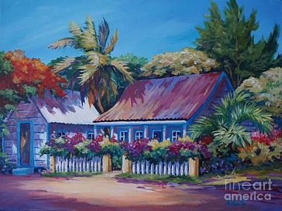Bahamas Landscape Painting - Cottage At Hog Stye Bay by John Clark