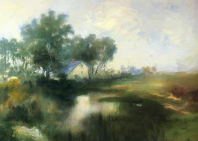 Cottage By The Lake Print by Georgiana Romanovna