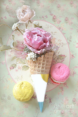 Dreamy Food Photograph - Shabby Chic Floral Pink And Yellow Macarons And Waffle Cone Floral And Food Photography by Kathy Fornal