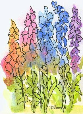 Cottage Flowers Print by Holly Banks