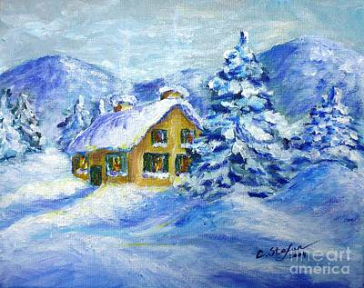 Contemporary Painting - Cottage In The Winter by Cristina Stefan
