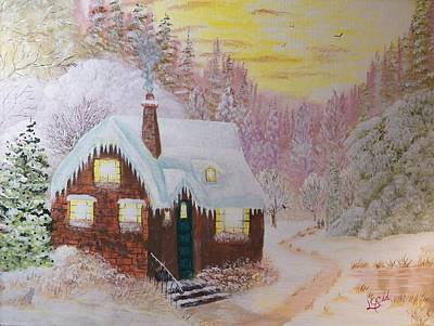 Cottage In The Woods Print by Laurie Kidd