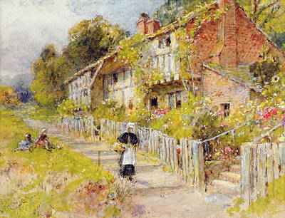 Perspective Painting - Cottages   A Row Of Cottages by William Stephen Coleman