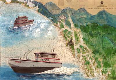Sitka Painting - Cougar Gillnet Fishing Boat Nautical Chart Map Art by Cathy Peek