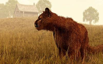 Fuzzy Digital Art - Cougar In A Field by Daniel Eskridge