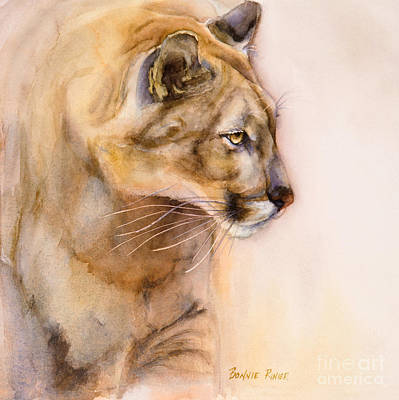 Puma Painting - Cougar On The Prowl by Bonnie Rinier