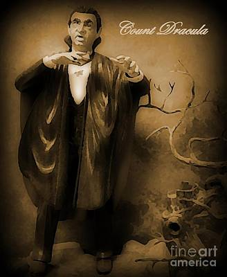 Count Dracula In Sepia Print by John Malone