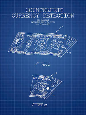 Counterfeit Currency Detection Patent From 1991 - Blueprint Print by Aged Pixel